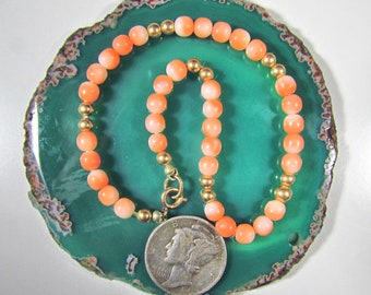Vintage, Genuine Angel Skin Coral Round Bead Bracelet with 12K Filled Gold Findings, Spring Ring Clasp, Soft Peaches and Whites