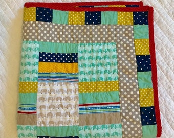 Elephants on Parade Baby Quilt