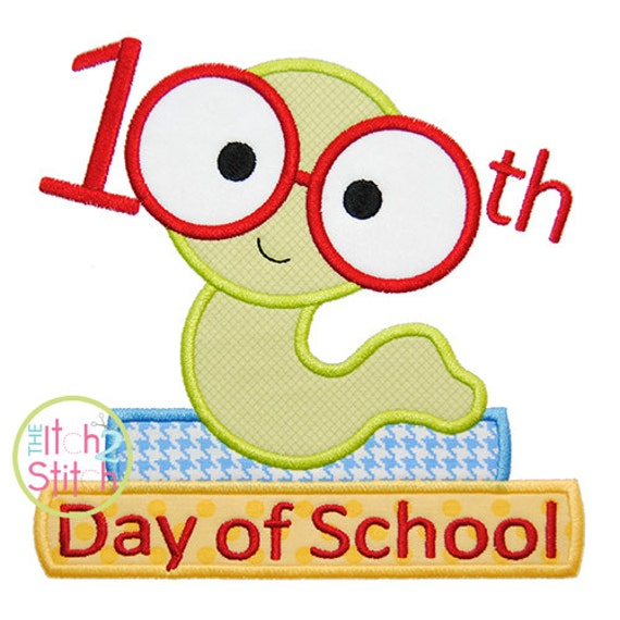 100th day book worm applique day of school text rh etsy com free 100th day of school clip art 100 Days Smarter