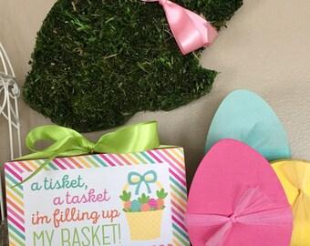 A tisket, a tasket, I'm filling up my basket! (Pink) 4x6 Easter wood block