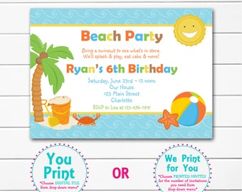 Beach  Birthday Party Invitation -- pool party -- beach party - swimming party - You print or I print.