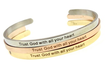 Proverbs 3:5 Trust God | Christian Stainless Steel Cuff | Spiritual Hand Stamped Religious Cuff | Gifts for Her Engraved Cuffs