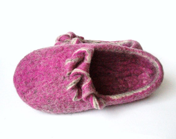 magenta swirls handmade felt natural Felted Valentine slippers shoes wool day wool grey slippers slippers slippers house Magenta gift felt wF6Oq1F