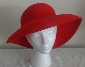 Women's Red Wool Fedora Hat