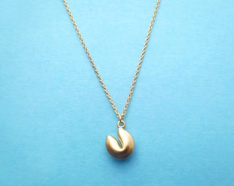Fortune cookie, Gold, Necklace, Good luck, Fate, Fortune, Cookie, Necklace, Birthday, Friendship, Mom, Sister, Gift, Jewelry