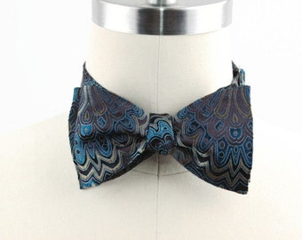 Free Style Bow Tie, Self Tie Bow Tie, Men's Bow Tie, Formal, Men's Accessories, Adjustable Bow Tie, Jacquard, Blue and Brass Butterfly Style