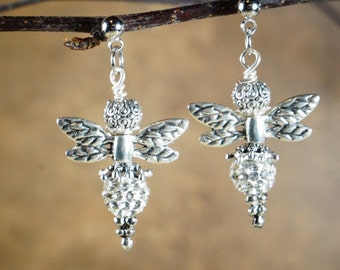 Dangle Earrings, Clear Crystals with Silver Tone Metal Wings and Spacers on Nichol Free Studs, Bee Earrings, Bee Dangles