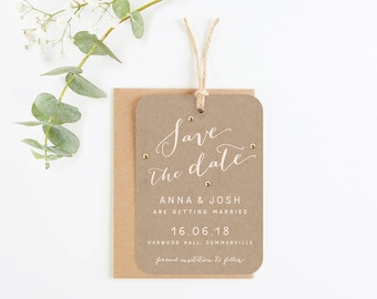 Kraft and Blush Save the Date with Gold Gems