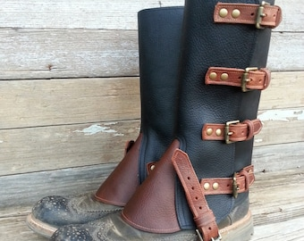 Taller Swiss Military Style Gaiters or Spats in Oiled Black and Brown Leather Combination w Antiqued Brass Hardware