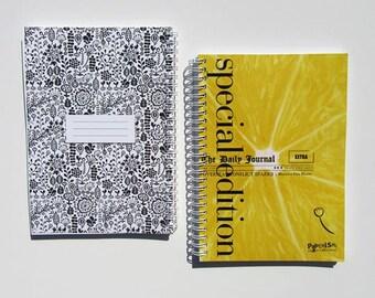 """Spiral Notebook """"Limonada"""" / Journal / Sketchbook - blank or lined - black & white floral pattern illustration / lemon design, 3 sizes"""