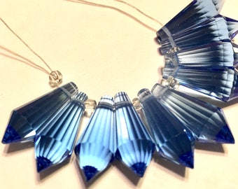 Sapphire blue Faceted Crystal drop briolettes top drilled 18mm