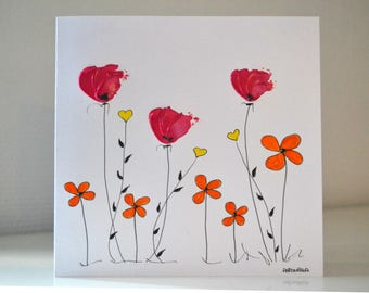 Original hand - painted card - single card of Art hand painted birthday card