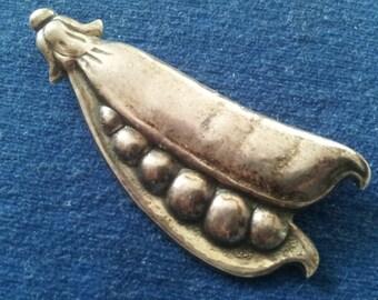 Vintage Sterling Pea Pod Brooch By Jewelart, Vintage Sterling Peapod Brooch Pin