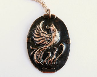 Phoenix Rising Copper Repousse Pendant Necklace OOAK Firebird