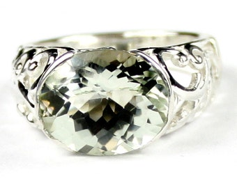 Green Amethyst (Prasiolite), East-West 925 Sterling Silver Ring, SR360