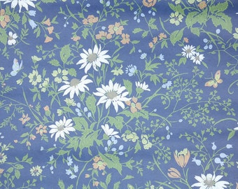 Retro Wallpaper by the Yard 60s Vintage Wallpaper - 1960s White Daisies and Butterflies on Navy Blue