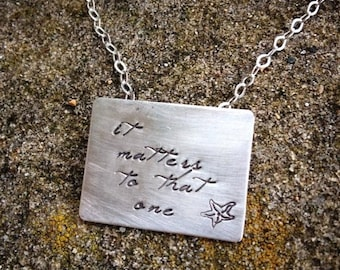 LIMITED TIME SALE The Starfish Story Necklace - Square Poetry Version All Solid Sterling Silver - A Wonderful Gift - Comes with Story Card