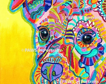 PAWS'nPortraits - Artsy Pup II ~ 8x10 Not Framed - Signed Original portrait FREE Shipping