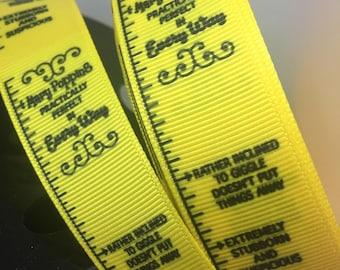 1 yard 1 inch Disney Classic Mary Poppins inspired Measuring Tape Grosgrain Ribbon - Disneyland Bow Making Lanyard Style