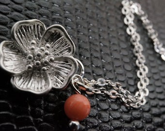 925 Stamped Sterling Silver Sakura Coral Necklace