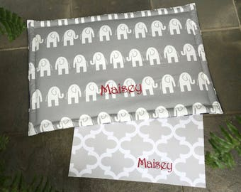 Elephants Dog Bed or Crate Mat || Extra Large Reversible Training Mat || Custom Personalized Puppy Gift by Three Spoiled Dogs