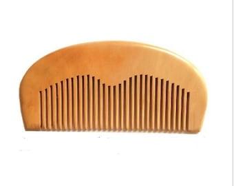 Natural Peach Wooden Beard Comb