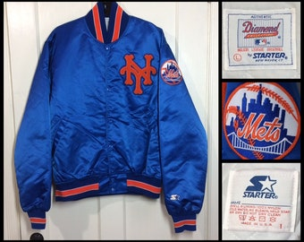 1980's blue Starter Jacket size large New York Mets NYC baseball sports team quilted satin bomber made in USA