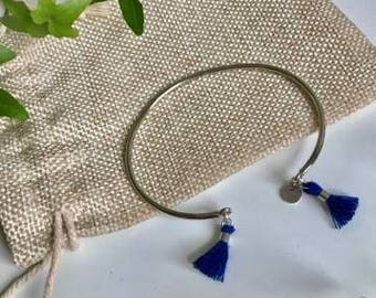Silver Bangle and blue Pom Pom
