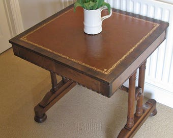 William IV Walnut Writing or Library Table with Tan Leather Skiver
