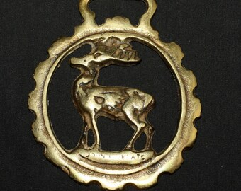 Vintage or Antique Stag Horse Brass - Horned God - Folk Magic, British, Pagan, Wisdom - Rare