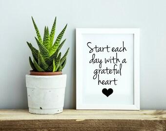 Grateful Heart Wall Art, Grateful Sign, Start Each Day With A Grateful Heart, Grateful Decor