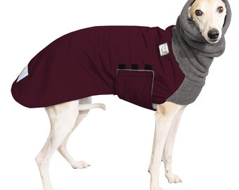 WHIPPET Winter Dog Coat, Winter Coat for Dogs, Waterproof Winter Clothes, Fleece Dog Snood, Winter Jacket, Dog Clothing, Dog Clothes, Maroon