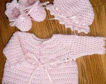 Handmade crochet pastel pink ribbon baby girl sweater hat & booties set 3-6 months