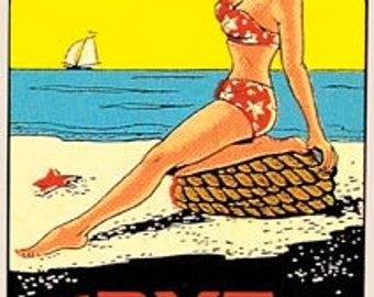 Vintage Style Rye Beach NH New Hampshire  pin-up girl bathing beauty    Travel Decal sticker