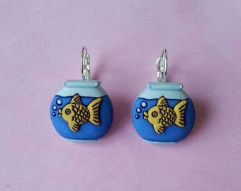 Earrings ♥ jar aquarium with a goldfish ♥♥♥♥