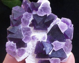 Great color - Pink Cubic Fluorite on Octahedron Purple Fluorite B4349 China