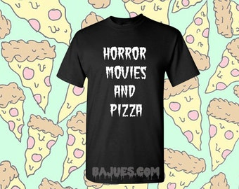 Halloween Tee -Black Horror Movies and Pizza T-Shirt in All Sizes