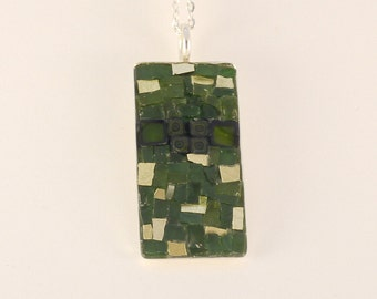 Mosaic jewelry, Mosaic pendant, Green and gold smalti, Gift for her, Glass pendant, Millefiori, Art, Mosaic, Mosaic necklace, Pendant