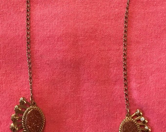 Goldstone, Vintage, Necklace and earrings, demi parure, set, MCM, Antique, Old, 1950s, 1960s, jewelry, wedding,estate,vintage,antique,old,
