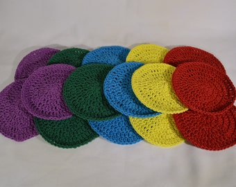 Crochet Dish Cloth-Wash Cloth Handmade Cotton/Polyester 5pc Round, Dish Cloth, Wash Cloth, Kitchen Accessory