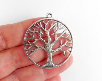 5 Tree Pendant Charms  - 38mm x 34mm - Double Sided