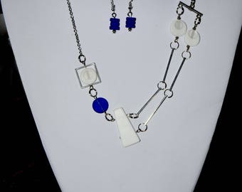 Antiallergic studs Double necklace