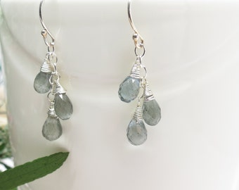 Aquamarine Earrings, Gemstone Earrings, March Birthstone, Moss Aquamarine Earrings In Sterling, Bridal Jewelry  Keiras Crystal Creations