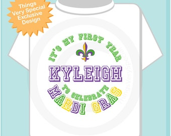 First Mardi Gras Shirt, Personalized 1st Mardi Gras Shirt or Onesie, Mardi Gras Shirt for Toddlers and Kids and Adults 02252014d
