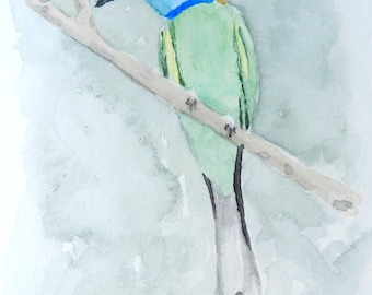 Green Bird - 4x6 Original Watercolor Painting
