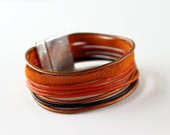 Cuff bracelet, copper orange leather