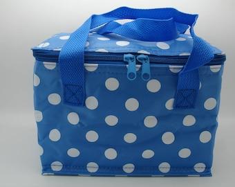 Blue Polka Dot Spotty Cool Bag Lunch Box Bags Spot Design
