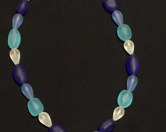 Seaglass blue mix, sand dollar pendant necklace
