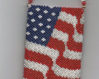 USA Flag Beaded Amulet Bag