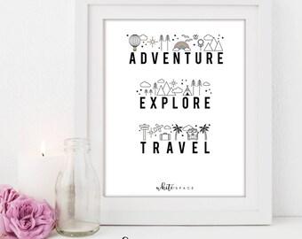 A4 Wall Art Print   Adventure, Explore, Travel Print